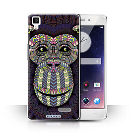 STUFF4 Phone Case/Cover for Oppo R7/Monkey-Colour Design/Aztec Animal Design Collection Mobile phones