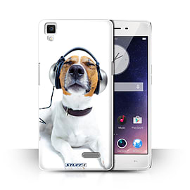 STUFF4 Phone Case/Cover for Oppo R7/Chillin Headphone Dog Design/Funny Animals Collection Mobile phones