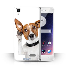 STUFF4 Phone Case/Cover for Oppo R7/Listening Dog Design/Funny Animals Collection Mobile phones