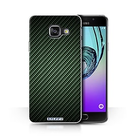 STUFF4 Phone Case/Cover for Samsung Galaxy A3 (2016)/Green/Carbon Fibre Effect/Pattern Collection Mobile phones