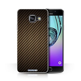 STUFF4 Phone Case/Cover for Samsung Galaxy A3 (2016)/Gold/Carbon Fibre Effect/Pattern Collection Mobile phones