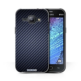 STUFF4 Phone Case/Cover for Samsung Galaxy J1 Ace/J110/Blue/Carbon Fibre Effect/Pattern Collection Mobile phones