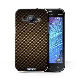 STUFF4 Phone Case/Cover for Samsung Galaxy J1 Ace/J110/Gold/Carbon Fibre Effect/Pattern Collection Mobile phones