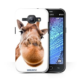STUFF4 Phone Case/Cover for Samsung Galaxy J1 Ace/J110/Closeup Giraffe/Funny Animals Collection Mobile phones