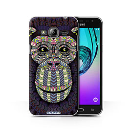 STUFF4 Phone Case/Cover for Samsung Galaxy J3/Monkey-Colour Design/Aztec Animal Design Collection Mobile phones