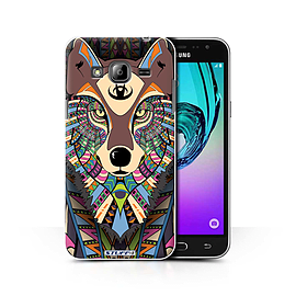 STUFF4 Phone Case/Cover for Samsung Galaxy J3/Wolf-Colour Design/Aztec Animal Design Collection Mobile phones