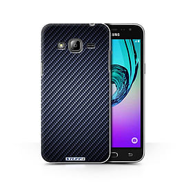 STUFF4 Phone Case/Cover for Samsung Galaxy J3/Blue Design/Carbon Fibre Effect/Pattern Collection Mobile phones
