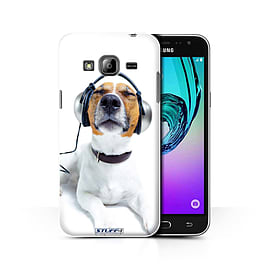 STUFF4 Phone Case/Cover for Samsung Galaxy J3/Chillin Headphone Dog Design/Funny Animals Collection Mobile phones