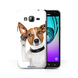 STUFF4 Phone Case/Cover for Samsung Galaxy J3/Listening Dog Design/Funny Animals Collection Mobile phones