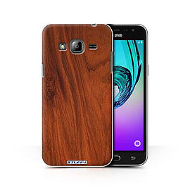 STUFF4 Phone Case/Cover for Samsung Galaxy J3/Mahogany Design/Wood Grain Effect/Pattern Collection Mobile phones