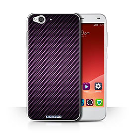 STUFF4 Phone Case/Cover for ZTE Blade S6/Purple Design/Carbon Fibre Effect/Pattern Collection Mobile phones