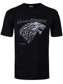 Game of Thrones Stark Wolf Black Men's T-shirt: XXL (Mens 44-46) Clothing
