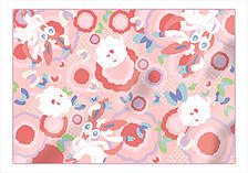 Pokemon - Ichiban Kuji - Pikachu and Modern Art Sylveon and Swirlix Pattern Blanket (Prize B) screen shot 1