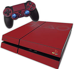 PS4 Skin EXCLUSIVE Vibrant Red Coloured Logo Skin with 2 Controller Skins Playstation 4 PS4