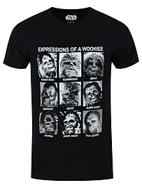 Star Wars Expressions Of A Wookiee Black Men's T-shirt: Small (Mens 36 - 38) Clothing