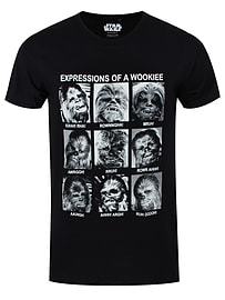 Star Wars Expressions Of A Wookiee Black Men's T-shirt: Medium (Mens 38 - 40) Clothing