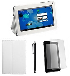 10.1 Slick Case Bundle - PU leather case with stand for 10 tablets + stylus + Screen protector Tablet