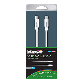 'Infapower 3.1 Usb-c To Usb-c Super Speed Cable, 1m, White (p028)' Multi Format and Universal
