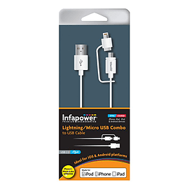 'Infapower Lightning And Micro Usb Combo To Usb Cable, 1m, White (p026)' Multi Format and Universal