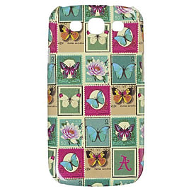 Accessorize Fashion Clip-On Hard Shell Case Cover for Samsung Galaxy S3 - Butterfly Stamps Mobile phones