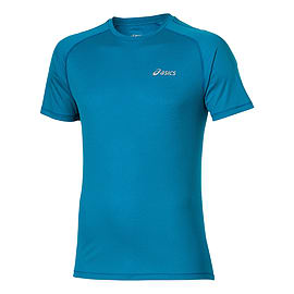 Asics Short Sleeved Mens Running T-Shirt Tee Mediteran Blue - L Clothing