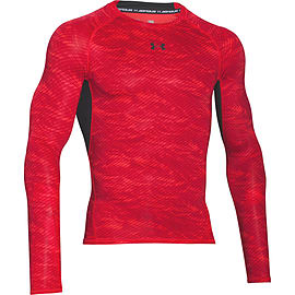 Under Armour HeatGear Armour Printed LS Baselayer Shirt Red/Black - S Clothing