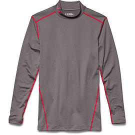 Under Armour ColdGear Armour Compression Mock Baselayer Tan Stone/Red - M Clothing