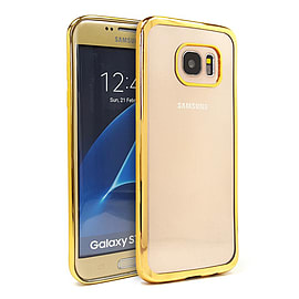 Frostycow Soft Gel Clear Back Metallic Bumper Shockproof Case Cover Samsung Galaxy S7 Edge Gold Mobile phones