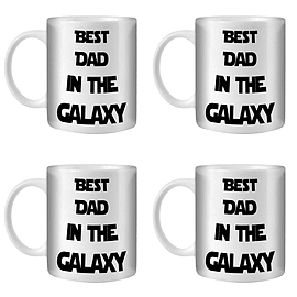 STUFF4 Tea/Coffee Mug/Cup 350ml/4 Pack Star Wars Dad/Father's Day Gift/White Ceramic/ST10 Home - Tableware
