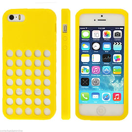 Ultra Slim Silicon Colourful Retro Dots Hole Case Cover for Apple iPhone 5 5S - Yellow Mobile phones