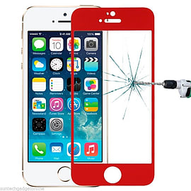 Genuine Coloured Tempered Glass Film Screen Protector For Apple iPhone 5 5S - Red Mobile phones