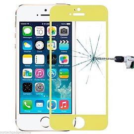 Genuine Coloured Tempered Glass Film Screen Protector For Apple iPhone 5 5S - Yellow Mobile phones