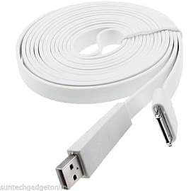 3m Meter Flat Noodle USB Sync Data Charger Charging Cable For Apple iPhone 4S 4 - White Mobile phones