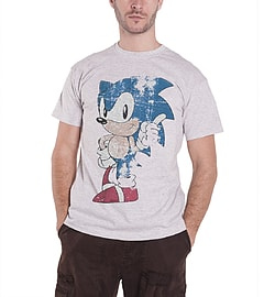 Sega Sonic the Hedgehog Vintage distressed Official Mens New Grey T Shirt Extra Large Clothing