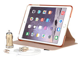 [MFI] 1.5m 8 Pin Lightning USB Cable + Car Charger + PU Leather Case for Apple iPad Mini 3 - Gold Mobile phones