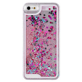 Glitter Bling Hearts Liquid Colourful Novelty Hard Case Cover for Apple iPhone 5 5S SE - Pink Mobile phones