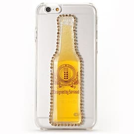 Moving Liquid 3D Transparent Hard Case Cover For iPhone 6 6S (Diamante Beer Bottle Yellow) Mobile phones