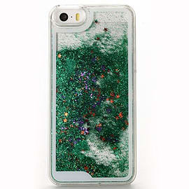 Glitter Bling Stars Liquid Colourful Novelty Hard Case Cover for Apple iPhone 6 6S - Green Mobile phones