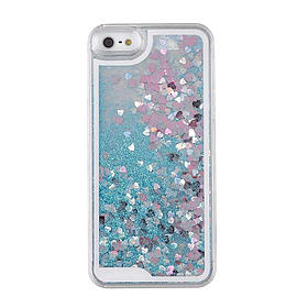 Glitter Bling Hearts Liquid Colourful Novelty Hard Case Cover for Apple iPhone 6 6S - Blue Mobile phones