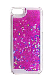 Glitter Bling Hearts Liquid Colourful Novelty Hard Case Cover for Apple iPhone 6 6S - Hot Pink Mobile phones