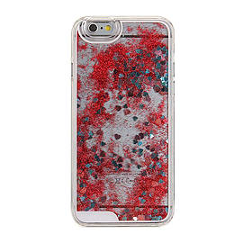 Glitter Bling Hearts Liquid Colourful Novelty Hard Case Cover for Apple iPhone 6 6S - Red Mobile phones