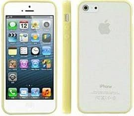 Translucent Frosted Plastic Protective Case Cover with TPU Frame for Apple iPhone 5 5S SE - Yellow Mobile phones