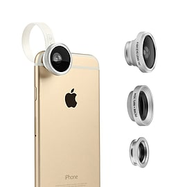 3 in 1 Universal Clip - On 180 Degree Fisheye Lens + 10X Marco + 0.67X Wide with Clip for iPhone Mobile phones
