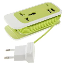 EU (2 Pin) Mains Wall Plug Charger Extension With Dual 2 USB Ports + UK Plug - 1.5m Cable (Green) Multi Format and Universal