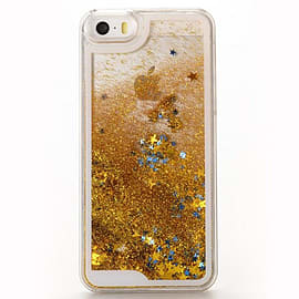 Glitter Bling Stars Liquid Novelty Hard Case Cover for Apple iPhone 6 Plus / 6S Plus - Gold Mobile phones