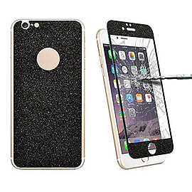 Glitter Powdered Front / Back Tempered Glass Screen Protector For iPhone 6 6S - Black Mobile phones