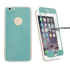 Glitter Powdered Front / Back Tempered Glass Screen Protector For iPhone 6 6S - Blue Mobile phones