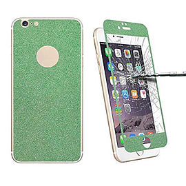 Glitter Powdered Front / Back Tempered Glass Screen Protector For iPhone 6 6S - Green Mobile phones