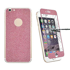 Glitter Powdered Front / Back Tempered Glass Screen Protector For iPhone 6 6S - Pink Mobile phones