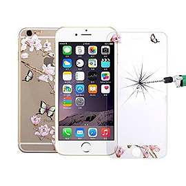 Full Screen 3D Curved Diamond Encrusted Front / Back Tempered Glass for Apple iPhone 6 6S - Design 1 Mobile phones